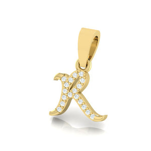 yellow gold alphabet initial letter 'R' diamond pendant - 2