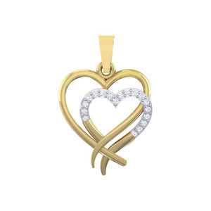 18Kt gold real diamond heart shape pendant by diamtrendz