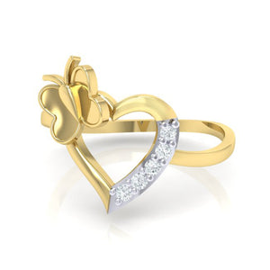18Kt gold heart diamond ring by diamtrendz