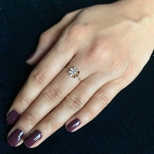 rose gold natural diamond floral ring