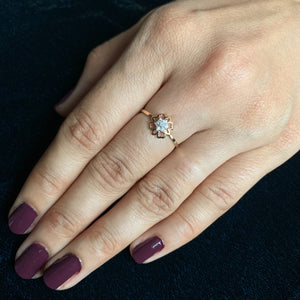 18kt rose gold diamond ring real photo