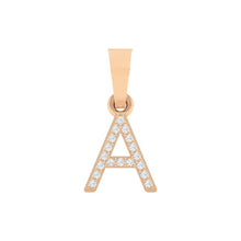 Load image into Gallery viewer, rose gold alphabet initial letter 'A' diamond pendant - 1