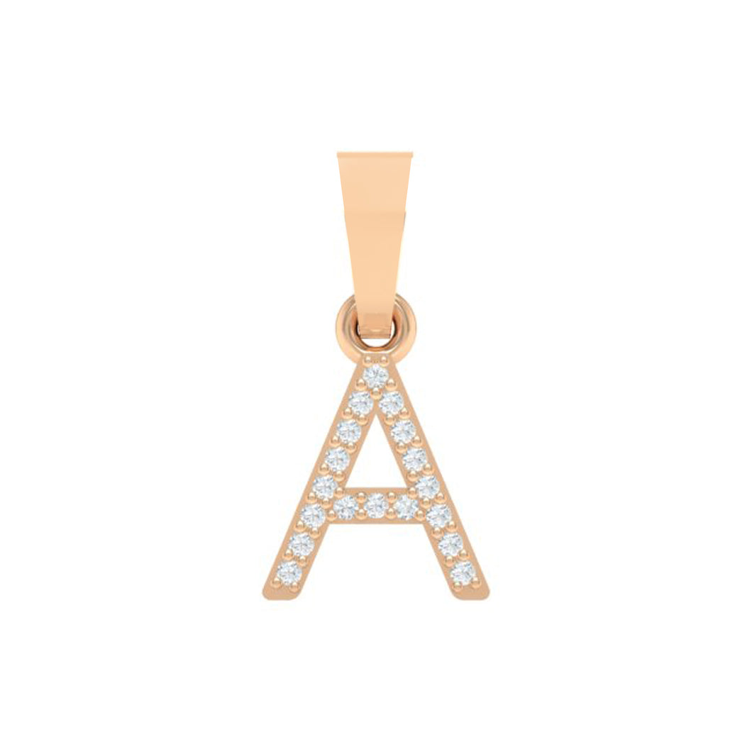 18Kt Gold Diamond Pendant - Capital 'A' Initial Letter