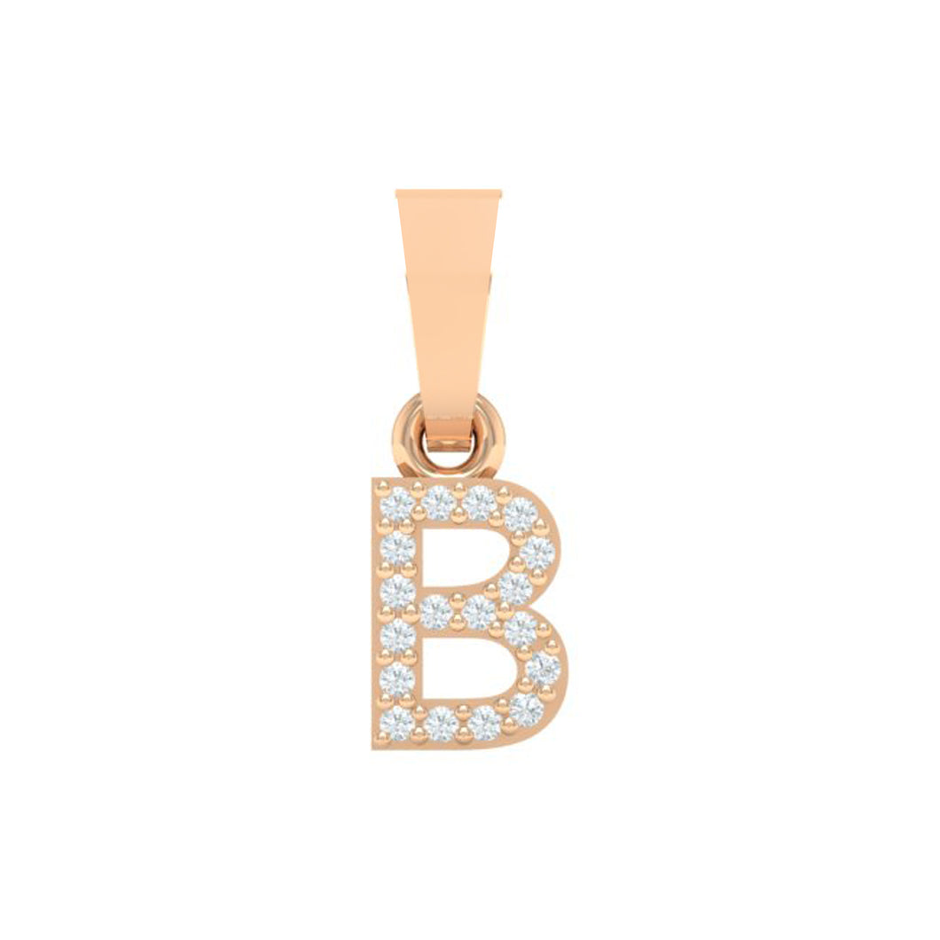 rose gold alphabet initial letter 'B' diamond pendant - 1