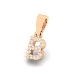rose gold alphabet initial letter 'B' diamond pendant - 2