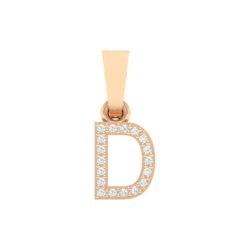 18Kt Gold Diamond Pendant - Capital 'D' Initial Letter