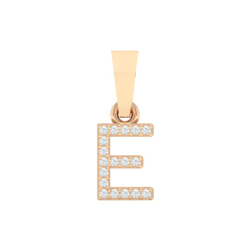 18Kt Gold Diamond Pendant - Capital 'E' Initial Letter