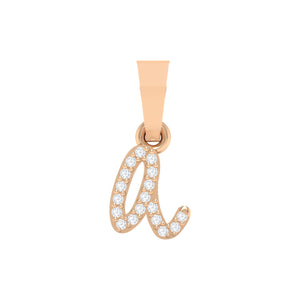 rose gold alphabet initial letter 'a' diamond pendant - 1