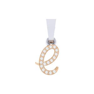 rose gold alphabet initial letter 'e' diamond pendant - 1