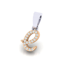 Load image into Gallery viewer, rose gold alphabet initial letter 'e' diamond pendant - 2