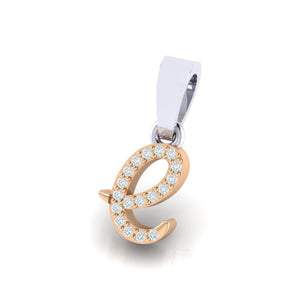 rose gold alphabet initial letter 'e' diamond pendant - 2