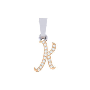 rose gold alphabet initial letter 'K' diamond pendant - 1