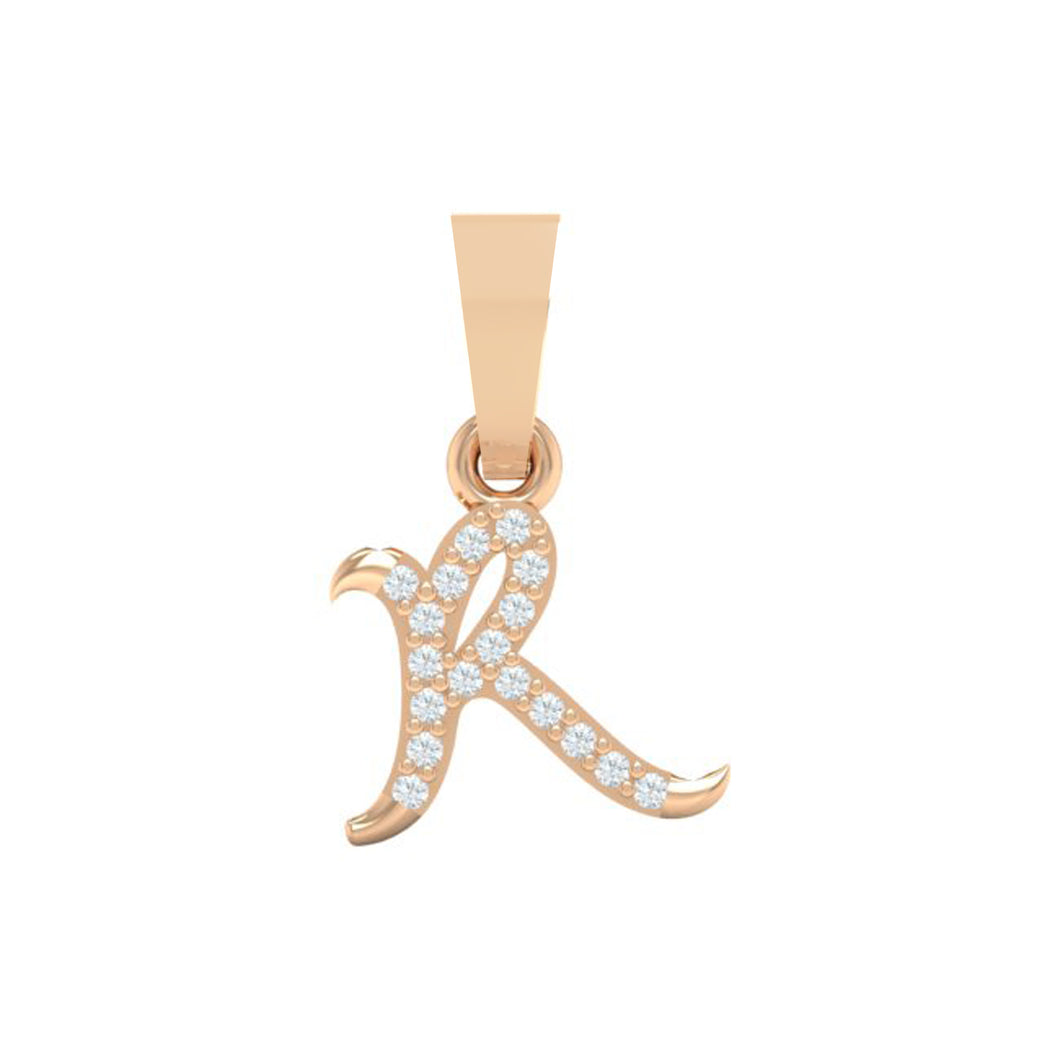 rose gold alphabet initial letter 'R' diamond pendant - 1