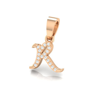 rose gold alphabet initial letter 's' diamond pendant - 2