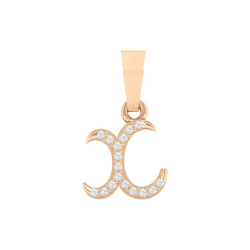 18Kt Gold Diamond Pendant - Small 'x' Initial Letter