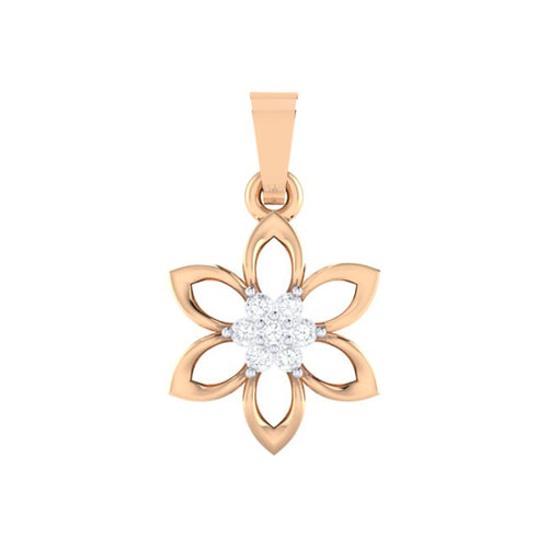 18Kt rose gold real diamond floral pendant by diamtrendz