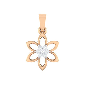 18Kt Gold Diamond Pendant - Floral