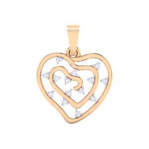 18Kt rose gold real diamond heart shape pendant by diamtrendz