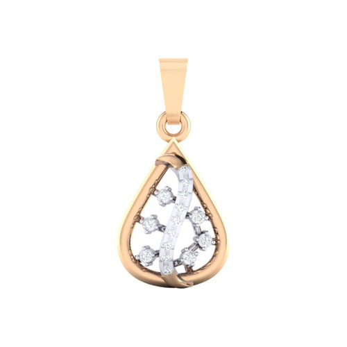 18Kt rose gold real diamond pendant by diamtrendz