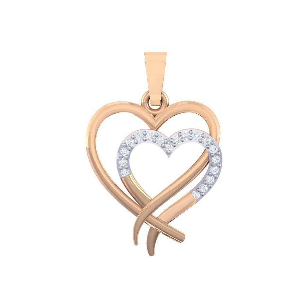 18Kt Gold Diamond Pendant - Heart