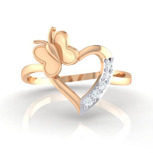 18Kt rose gold heart diamond ring by diamtrendz