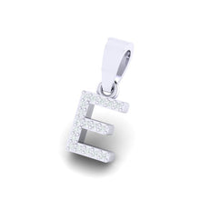 Load image into Gallery viewer, white gold alphabet initial letter 'E' diamond pendant - 2