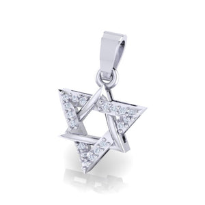 18Kt white gold real diamond star shape pendant by diamtrendz