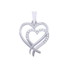 Load image into Gallery viewer, 18Kt white gold real diamond heart shape pendant by diamtrendz