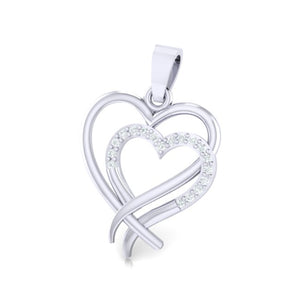 18Kt white gold real diamond heart shape pendant by diamtrendz