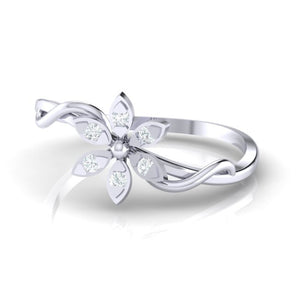 18Kt white gold floral diamond ring by diamtrendz