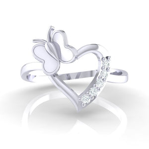 18Kt white gold heart diamond ring by diamtrendz