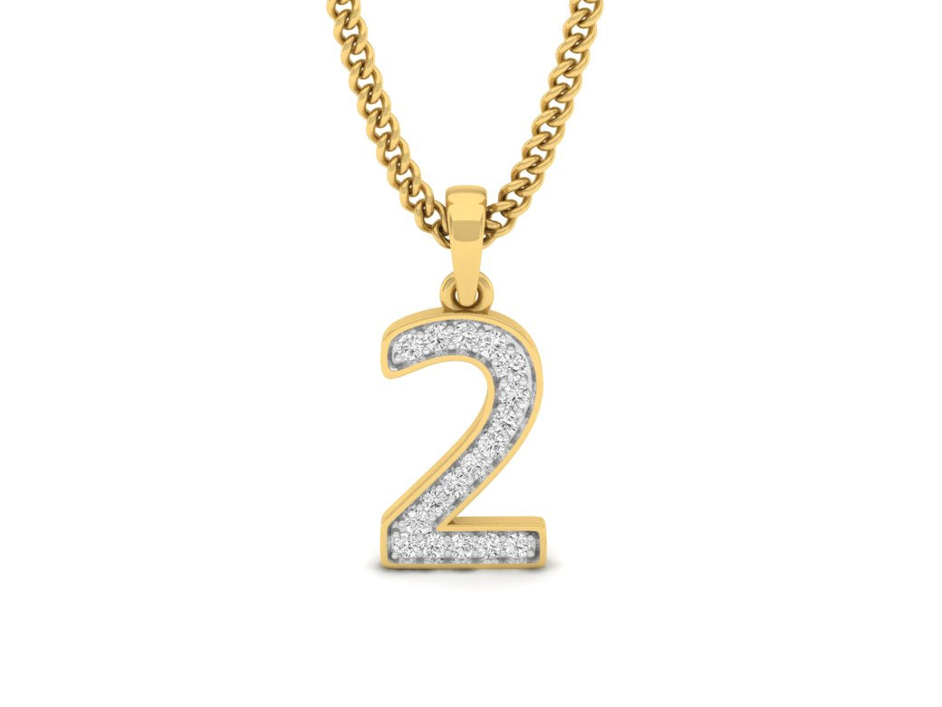 18Kt gold number 2 real diamond pendant by diamtrendz