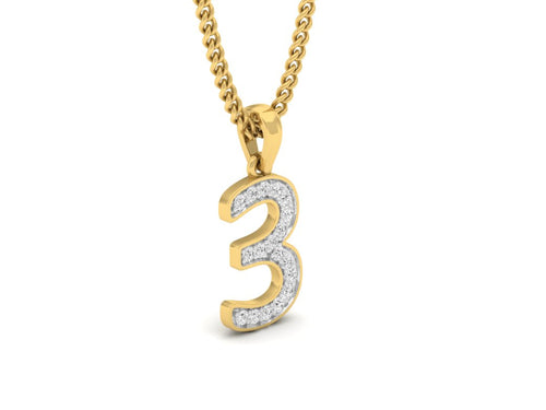 18Kt gold number 3 real diamond pendant by diamtrendz