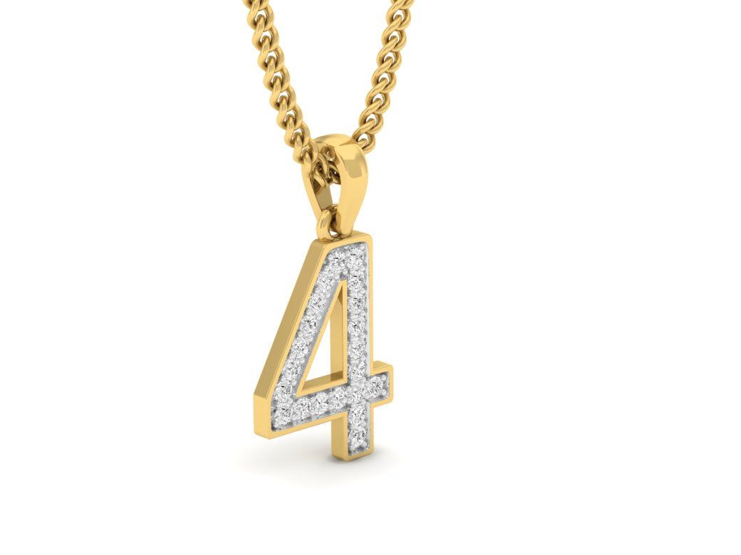 18Kt gold number 4 real diamond pendant by diamtrendz