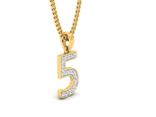 18Kt gold number 5 real diamond pendant by diamtrendz