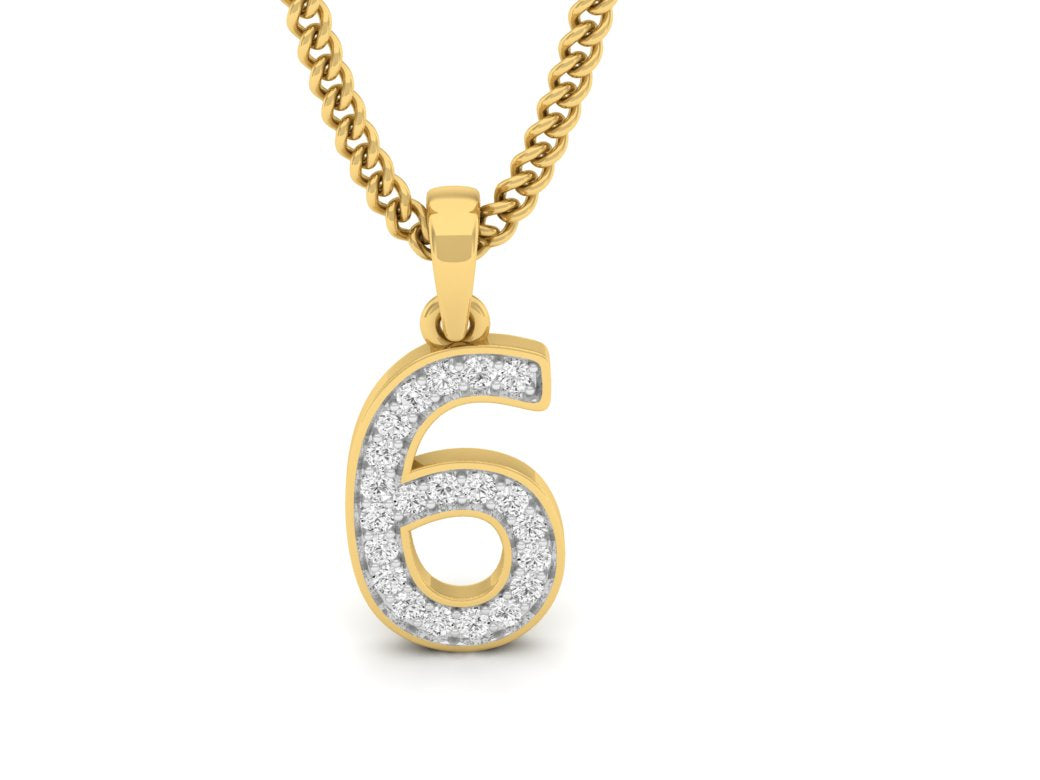 18Kt gold number 6 real diamond pendant by diamtrendz