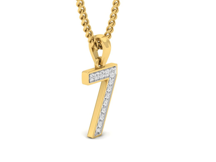 18Kt gold number 7 real diamond pendant by diamtrendz
