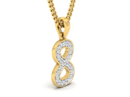 18Kt gold number 8 real diamond pendant by diamtrendz