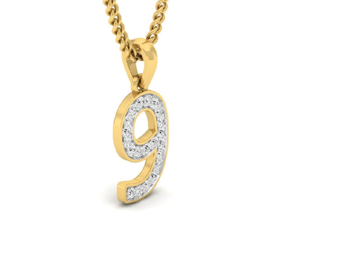 18Kt gold number 9 real diamond pendant by diamtrendz