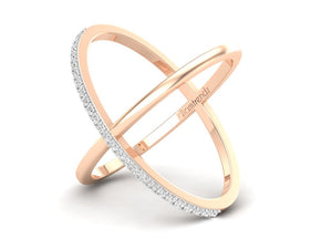 18Kt rose gold cross diamond ring by diamtrendz