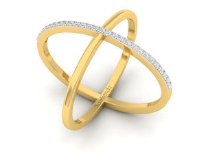 18Kt gold cross diamond ring by diamtrendz