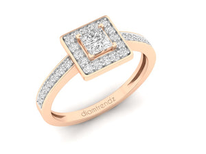 18Kt rose gold square diamond ring by diamtrendz