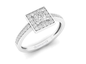 18Kt white gold square diamond ring by diamtrendz