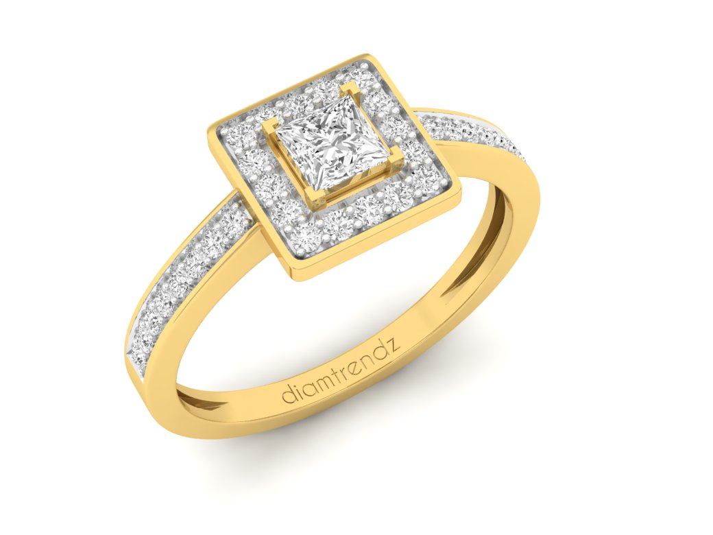 18Kt gold square diamond ring by diamtrendz