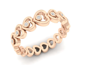 18Kt rose gold heart shaped diamond ring by diamtrendz