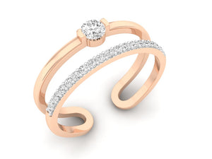 18Kt rose gold double band diamond ring by diamtrendz
