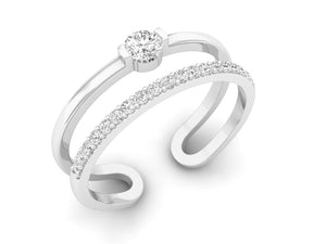 18Kt white gold double band diamond ring by diamtrendz