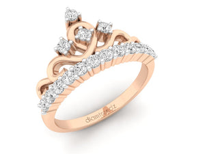 18Kt rose gold crown diamond ring by diamtrendz