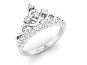 18Kt white gold crown diamond ring by diamtrendz