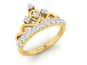18Kt gold crown diamond ring by diamtrendz